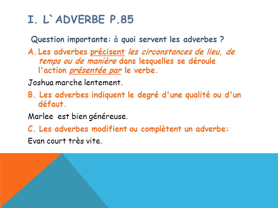 i. L`adverbe P.85 Question importante: à quoi servent les adverbes