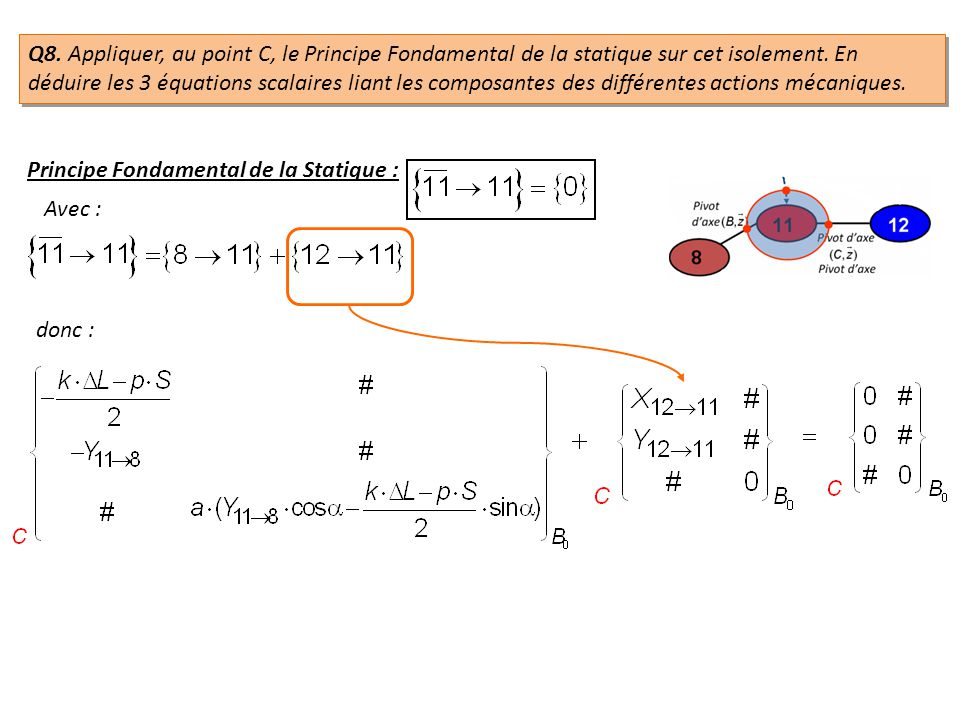 Q8. Appliquer, au point C, le Principe Fondamental de la statique sur cet isolement. En déduire les 3 équations scalaires liant les composantes des différentes actions mécaniques.