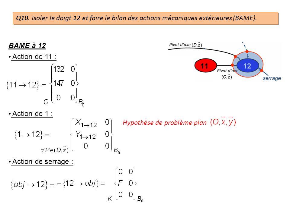 Q10. Isoler le doigt 12 et faire le bilan des actions mécaniques extérieures (BAME).