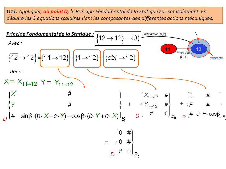 Q11. Appliquer, au point D, le Principe Fondamental de la Statique sur cet isolement. En déduire les 3 équations scalaires liant les composantes des différentes actions mécaniques.