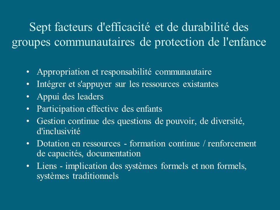 Sept facteurs d efficacité et de durabilité des groupes communautaires de protection de l enfance