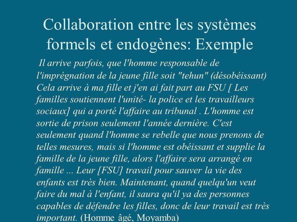 Collaboration entre les systèmes formels et endogènes: Exemple