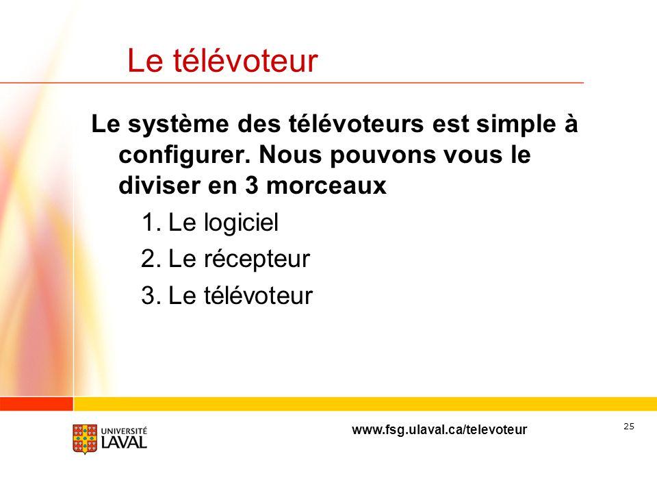 Le télévoteur Le système des télévoteurs est simple à configurer. Nous pouvons vous le diviser en 3 morceaux.
