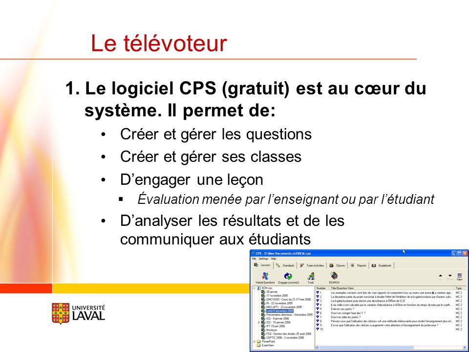 Le télévoteur 1. Le logiciel CPS (gratuit) est au cœur du système. Il permet de: Créer et gérer les questions.