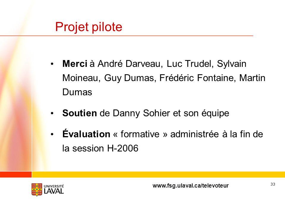 Projet pilote Merci à André Darveau, Luc Trudel, Sylvain Moineau, Guy Dumas, Frédéric Fontaine, Martin Dumas.