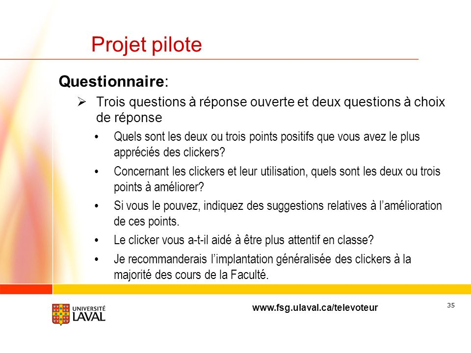 Projet pilote Questionnaire: