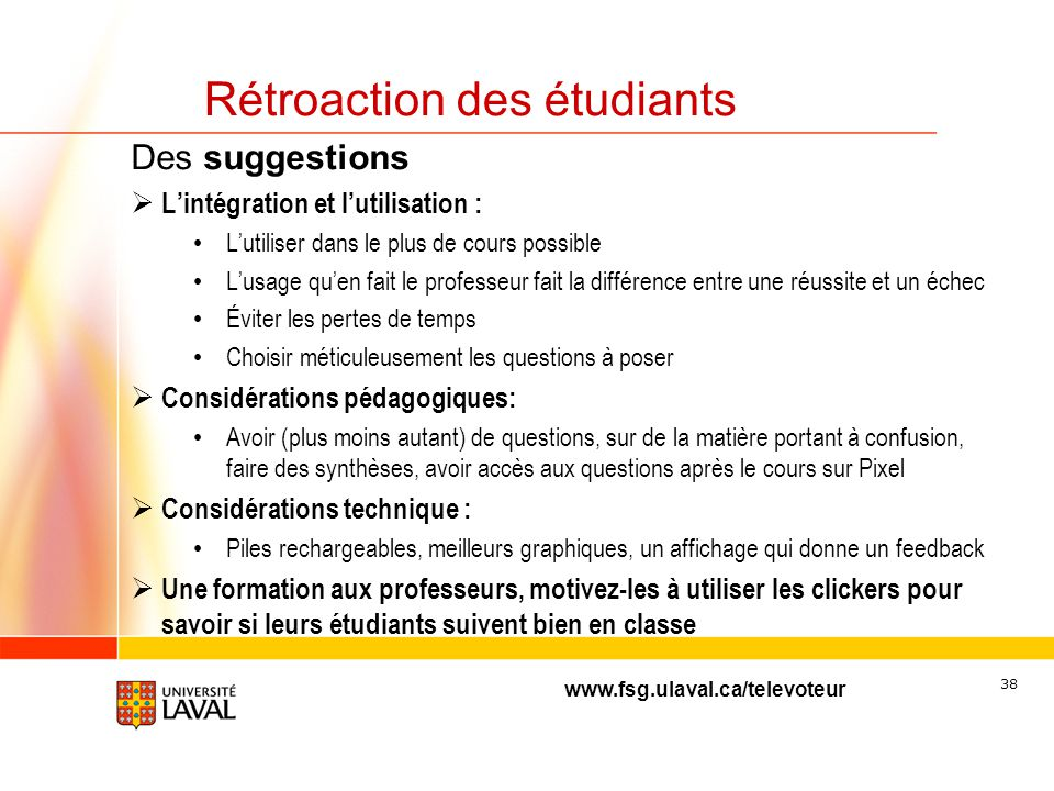 Rétroaction des étudiants