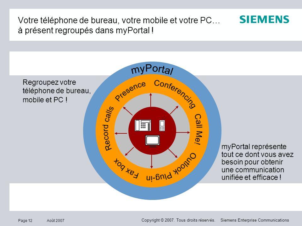 Votre téléphone de bureau, votre mobile et votre PC… à présent regroupés dans myPortal !
