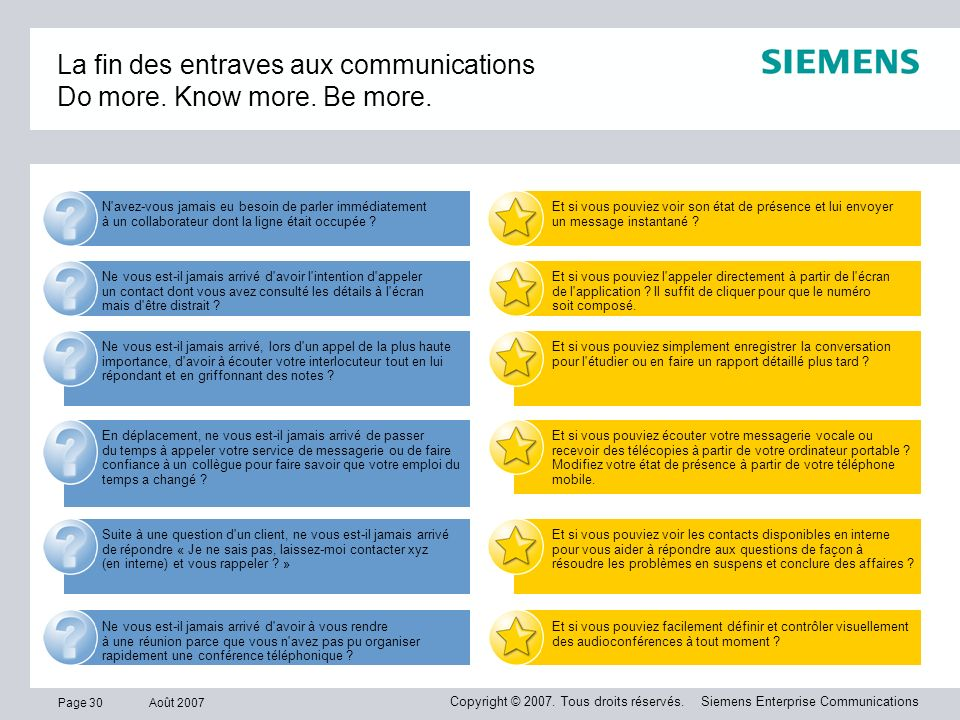La fin des entraves aux communications Do more. Know more. Be more.