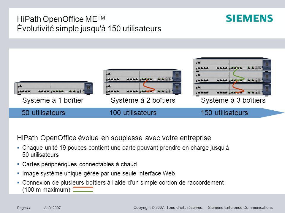 HiPath OpenOffice METM Évolutivité simple jusqu à 150 utilisateurs