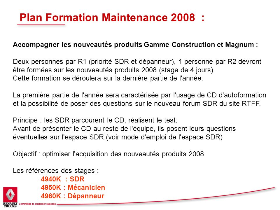 Plan Formation Maintenance 2008 :