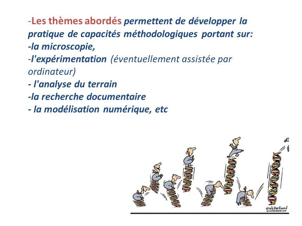 Les thèmes abordés permettent de développer la pratique de capacités méthodologiques portant sur: