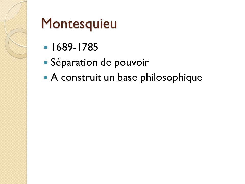 Montesquieu 1689-1785 Séparation de pouvoir