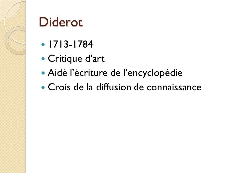 Diderot 1713-1784 Critique d'art Aidé l'écriture de l'encyclopédie