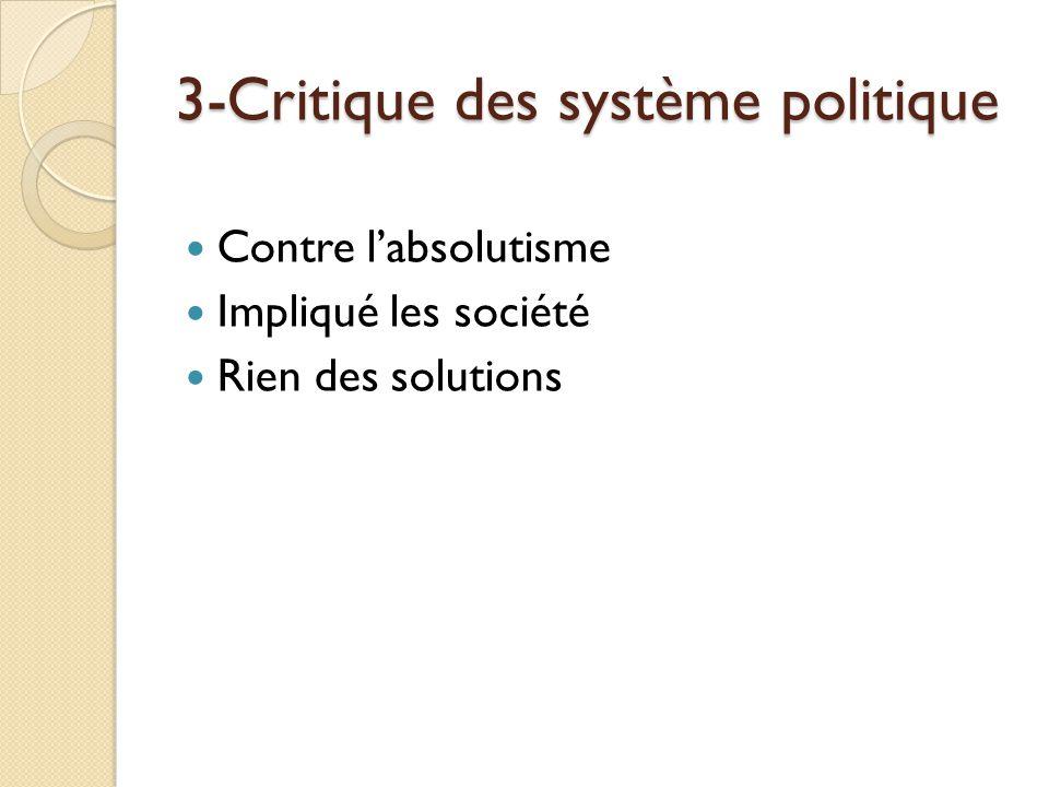 3-Critique des système politique