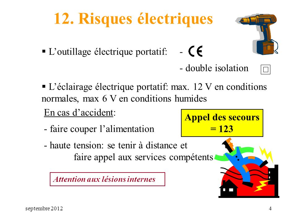 12. Risques électriques L'outillage électrique portatif: -