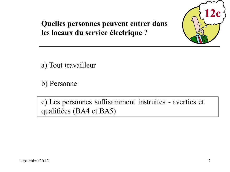 mars 17 12c. Quelles personnes peuvent entrer dans les locaux du service électrique a) Tout travailleur.