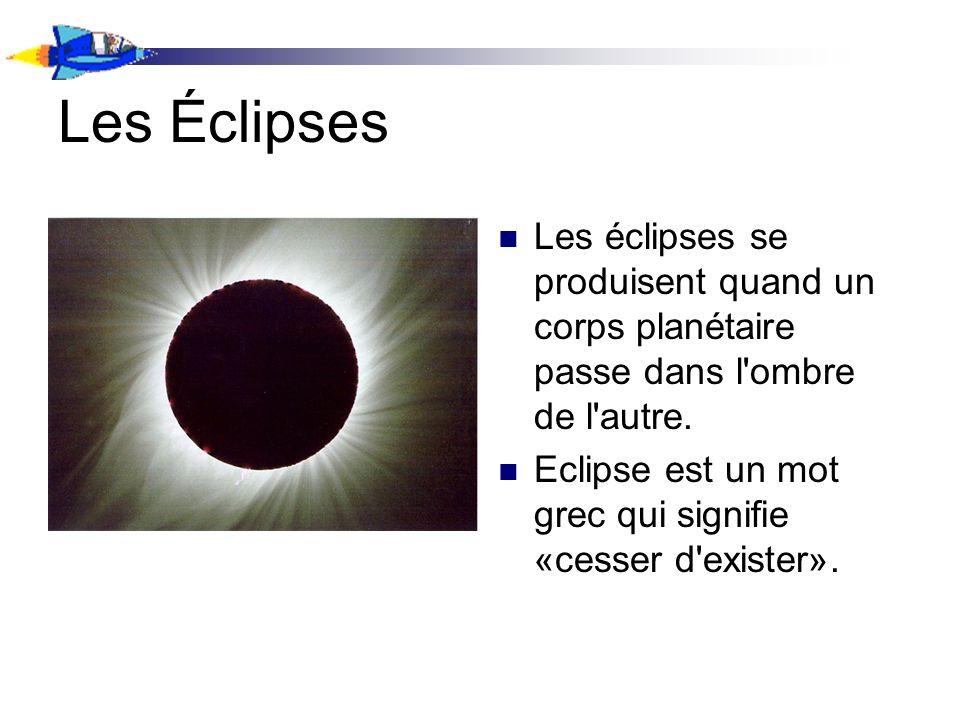 Les Éclipses Les éclipses se produisent quand un corps planétaire passe dans l ombre de l autre.