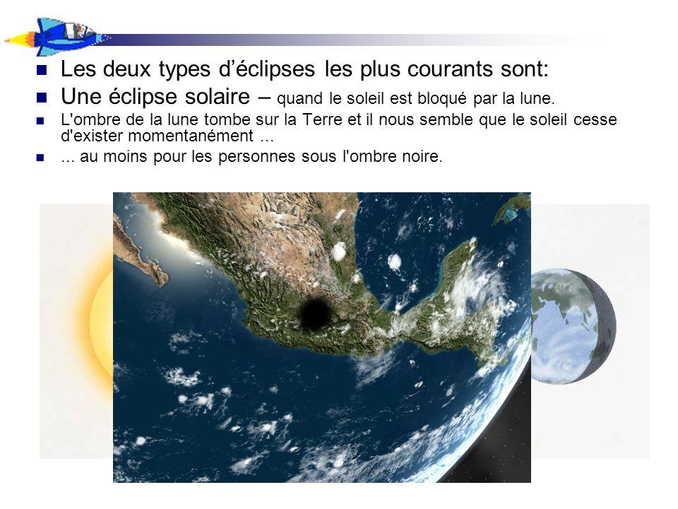 Les deux types d'éclipses les plus courants sont: