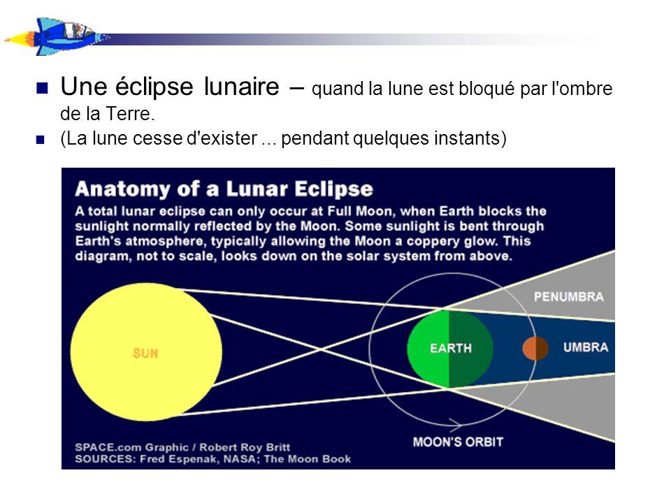 Une éclipse lunaire – quand la lune est bloqué par l ombre de la Terre.
