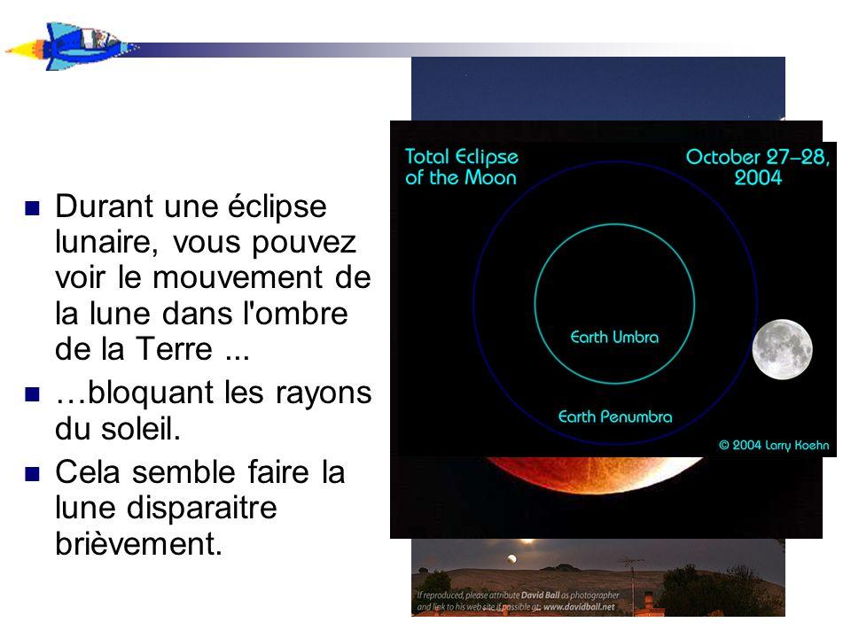 Durant une éclipse lunaire, vous pouvez voir le mouvement de la lune dans l ombre de la Terre ...