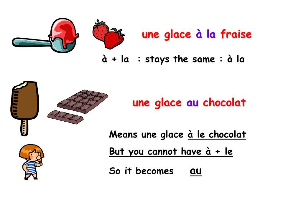 une glace à la fraise une glace au chocolat
