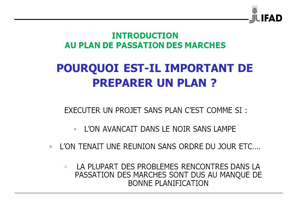 INTRODUCTION AU PLAN DE PASSATION DES MARCHES