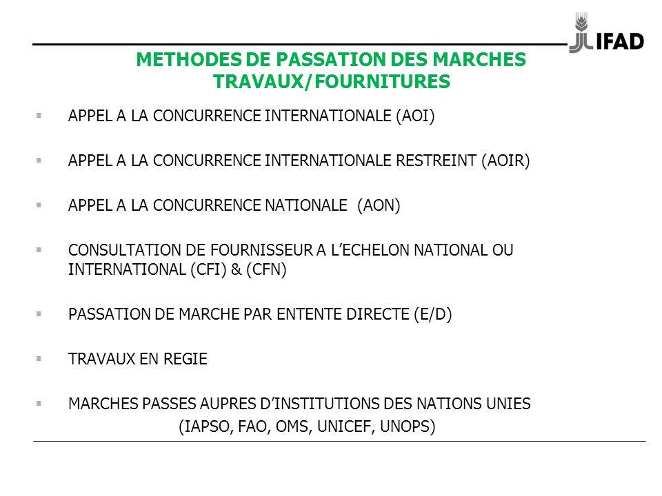 METHODES DE PASSATION DES MARCHES TRAVAUX/FOURNITURES