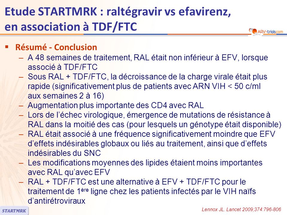 Etude STARTMRK : raltégravir vs efavirenz, en association à TDF/FTC