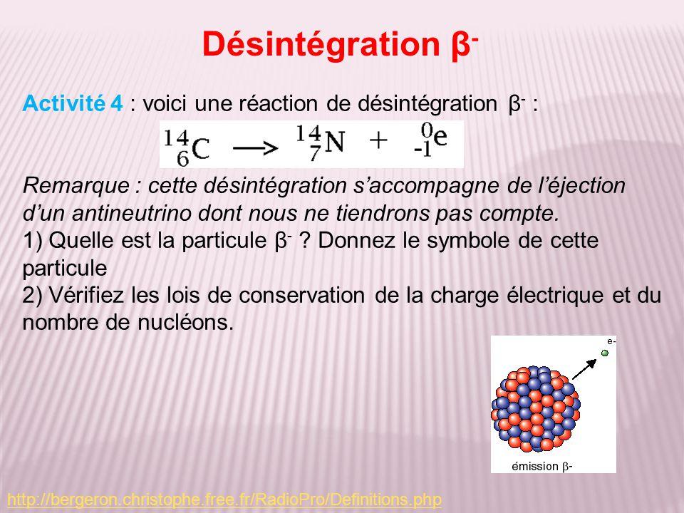 Désintégration β- Activité 4 : voici une réaction de désintégration β- :