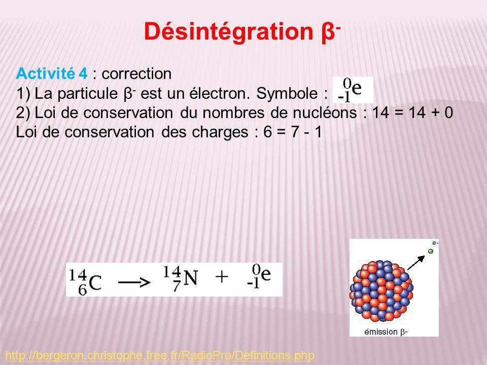 Désintégration β- Activité 4 : correction