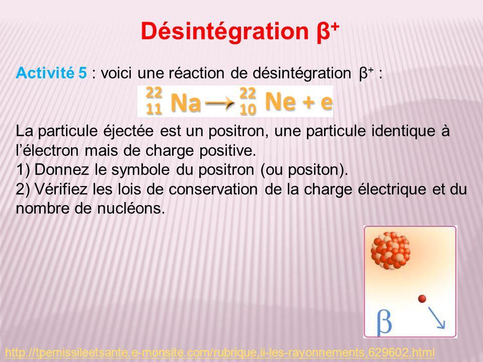 Désintégration β+ Activité 5 : voici une réaction de désintégration β+ :
