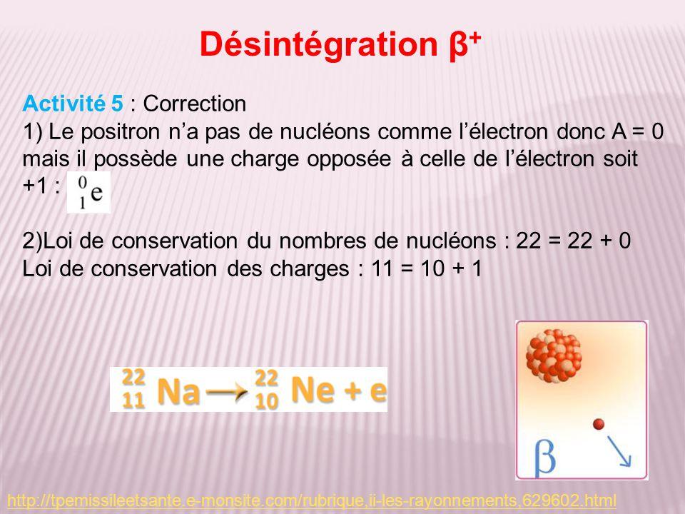 Désintégration β+ Activité 5 : Correction