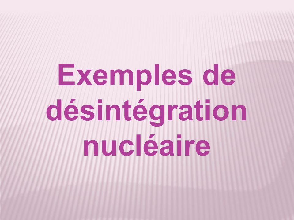 Exemples de désintégration nucléaire