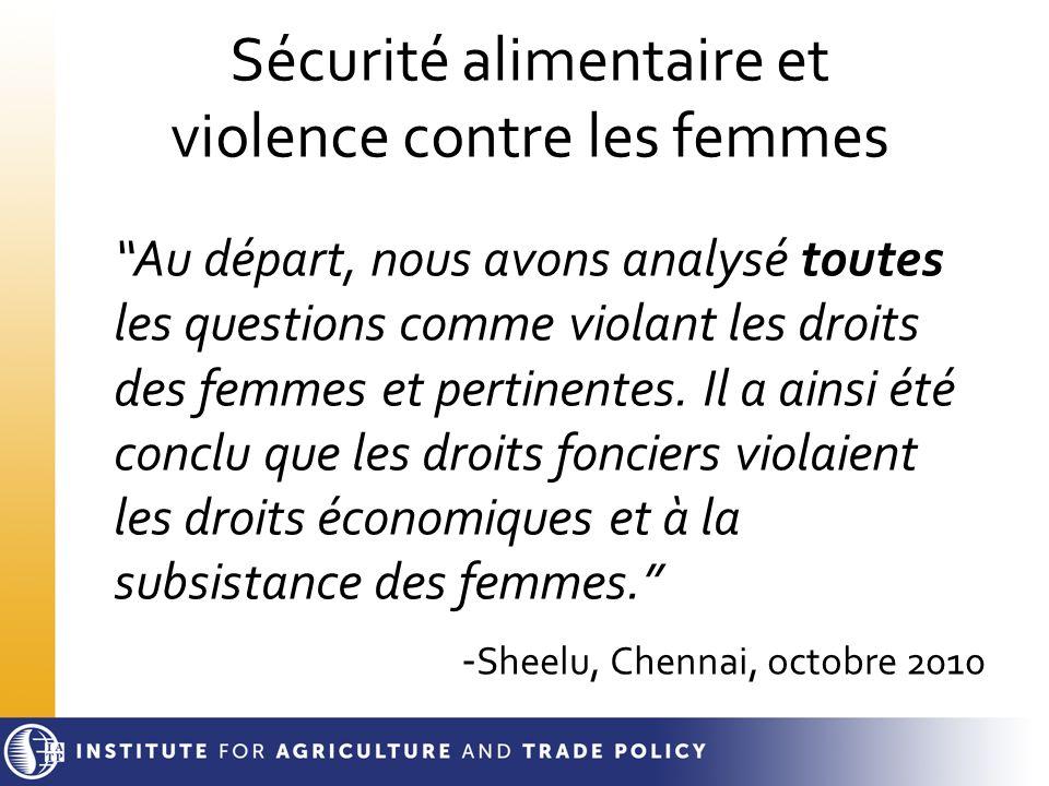 Sécurité alimentaire et violence contre les femmes