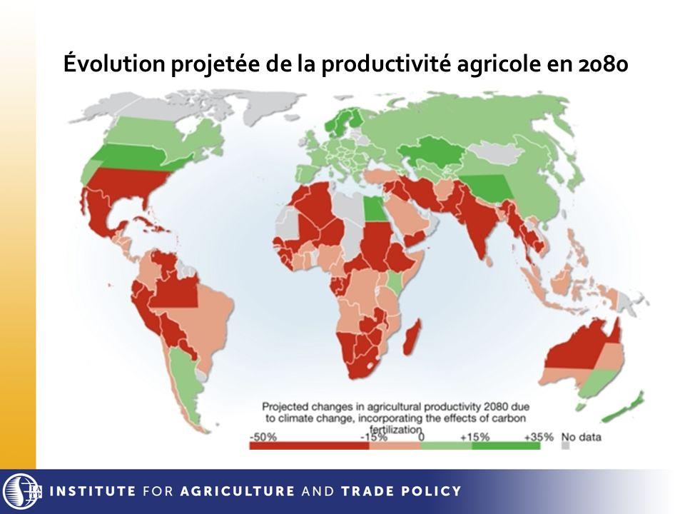 Évolution projetée de la productivité agricole en 2080