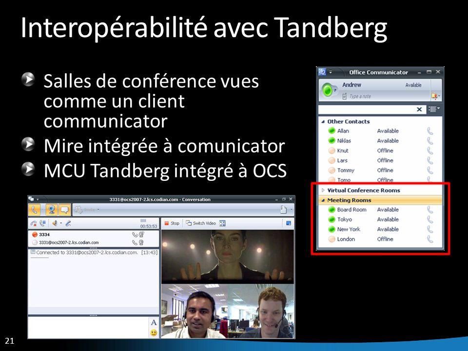 Interopérabilité avec Tandberg