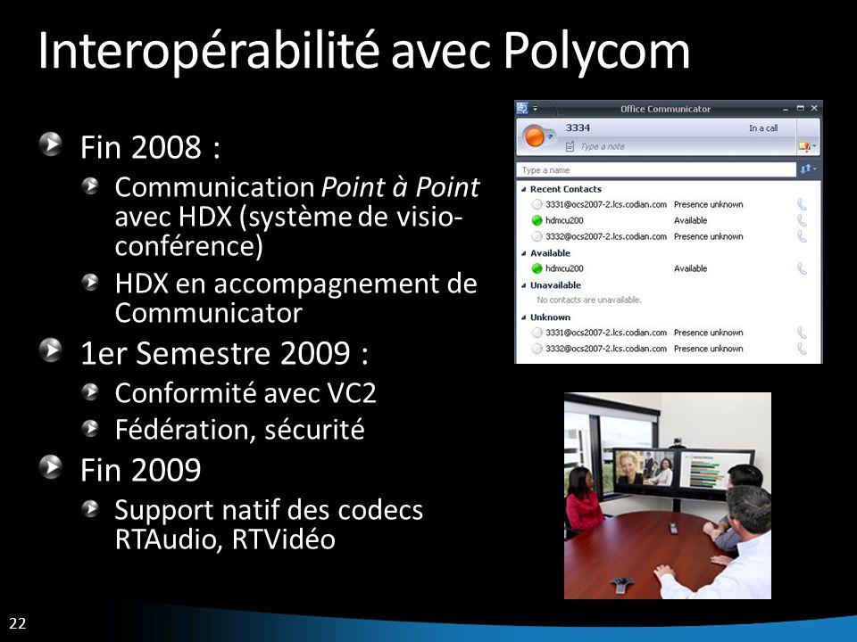 Interopérabilité avec Polycom