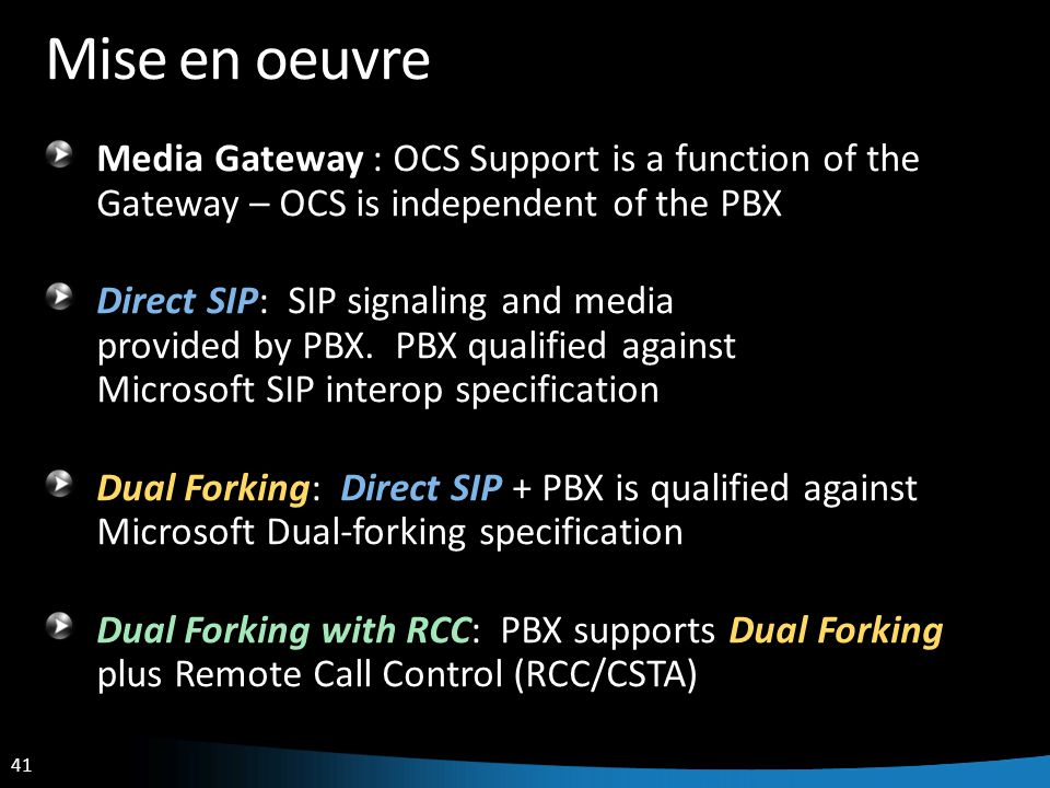 Mise en oeuvre Media Gateway : OCS Support is a function of the Gateway – OCS is independent of the PBX.