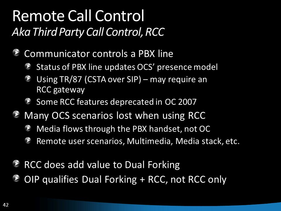 Remote Call Control Aka Third Party Call Control, RCC