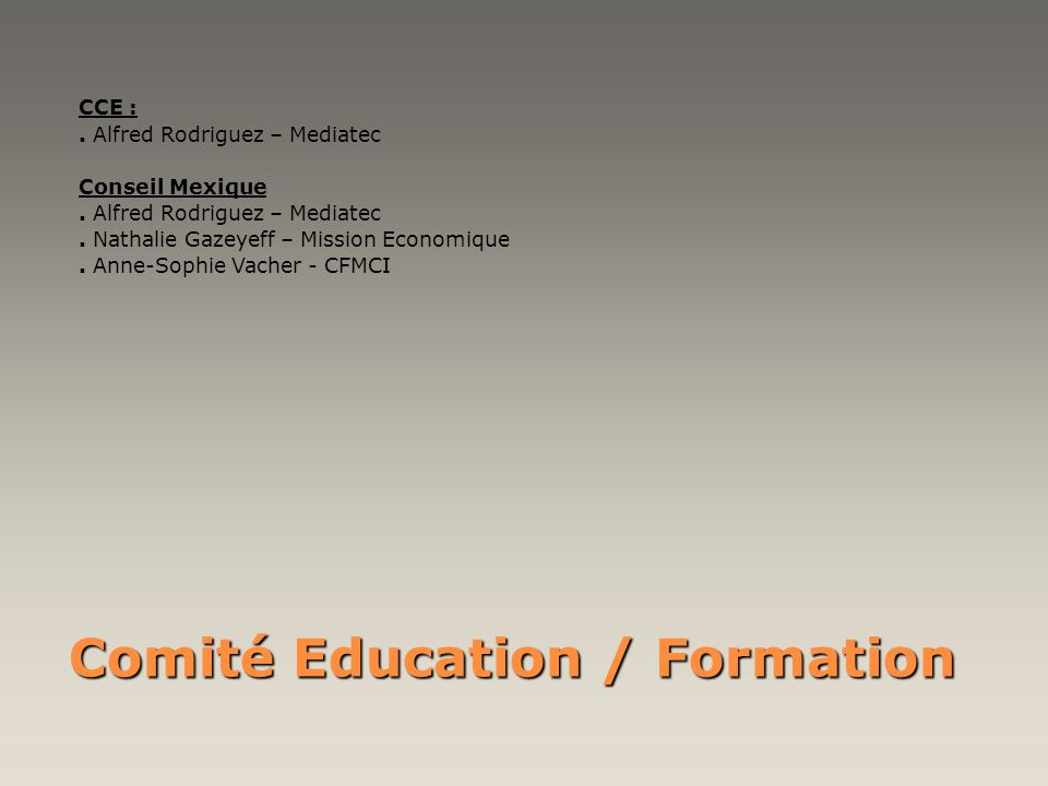 Comité Education / Formation
