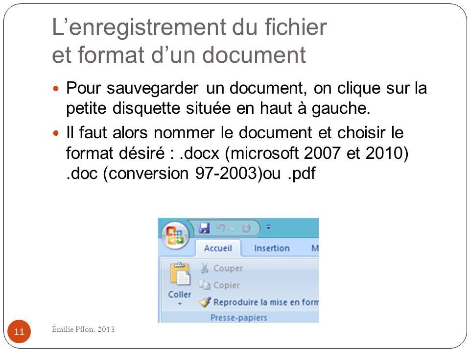L'enregistrement du fichier et format d'un document