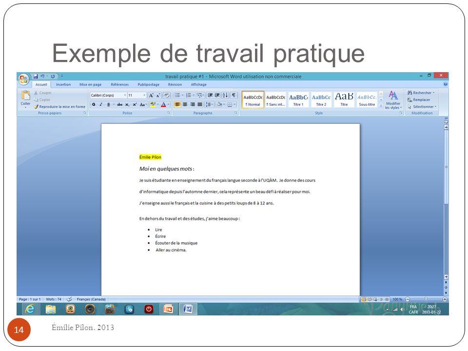 Exemple de travail pratique