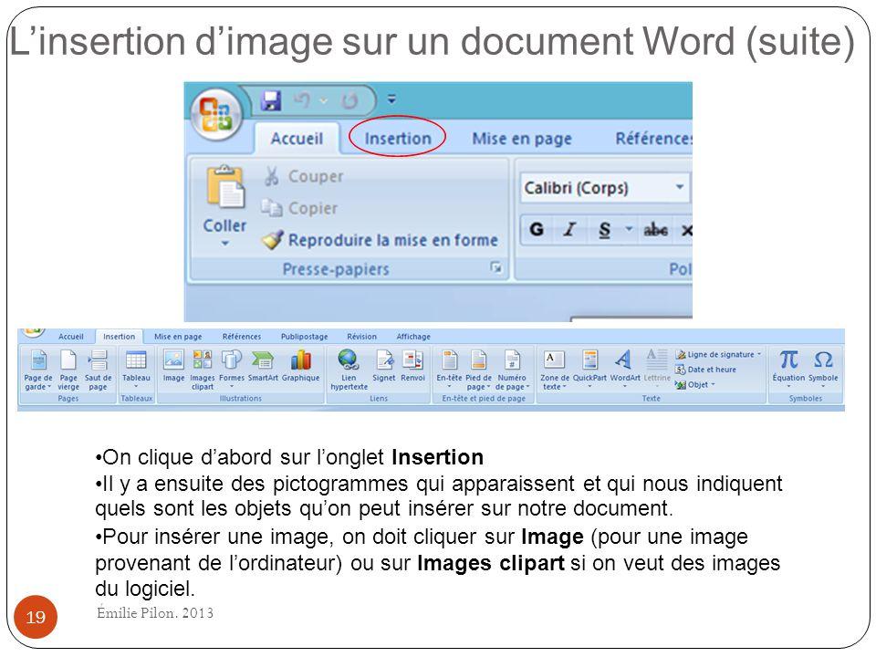 L'insertion d'image sur un document Word (suite)