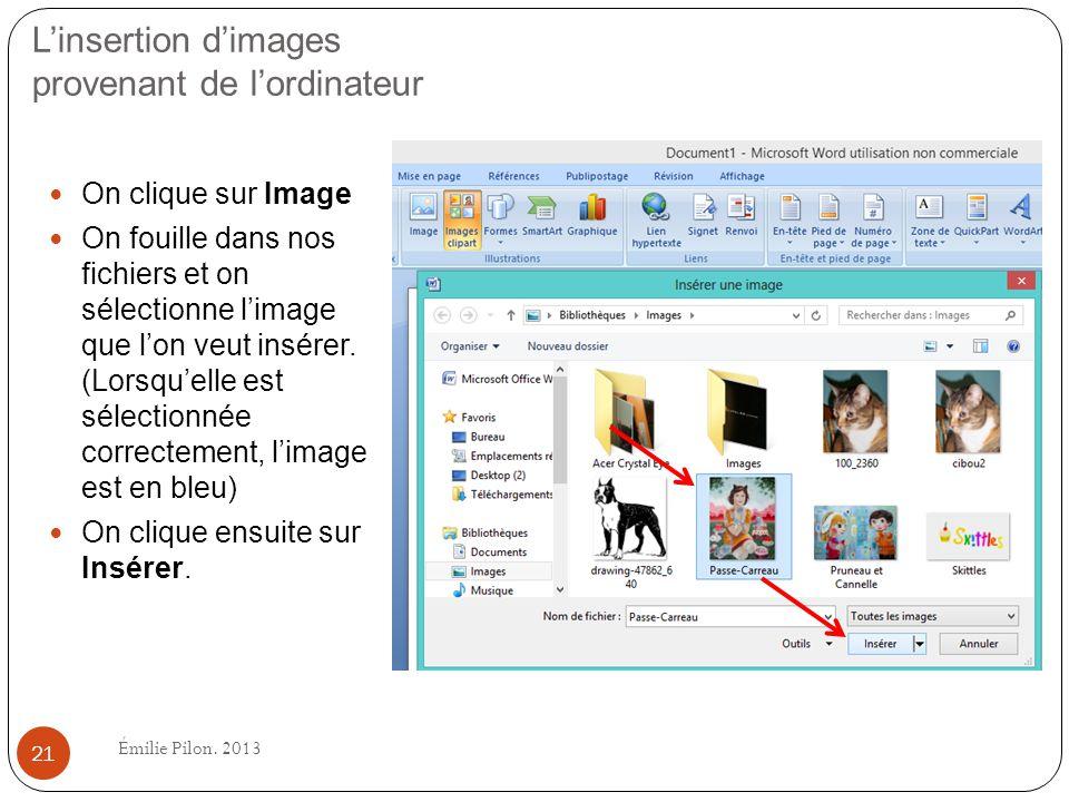 L'insertion d'images provenant de l'ordinateur