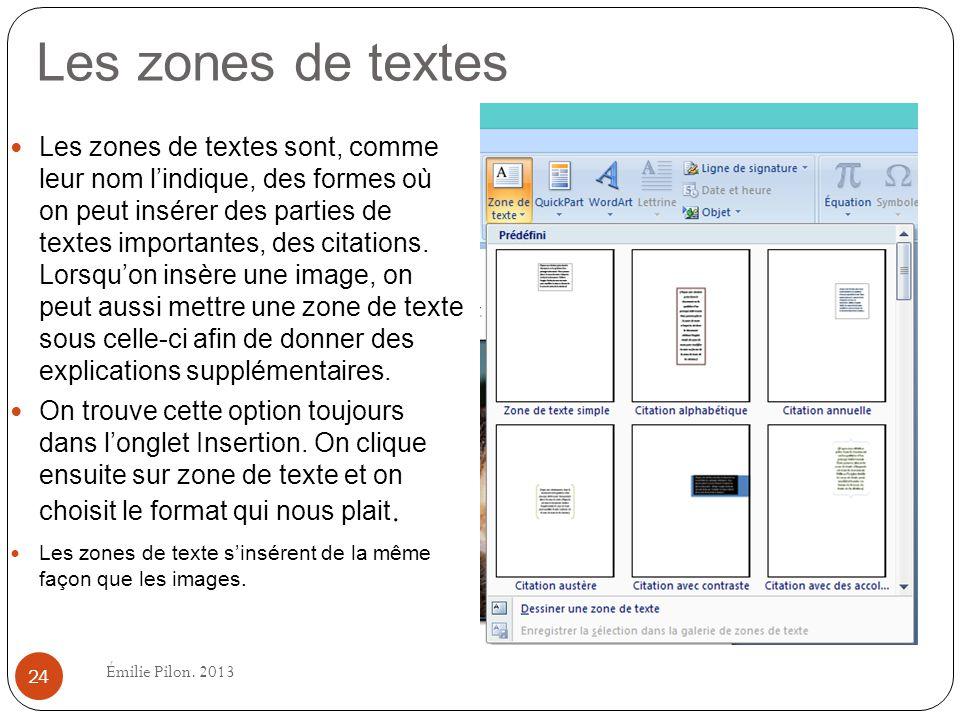 Les zones de textes