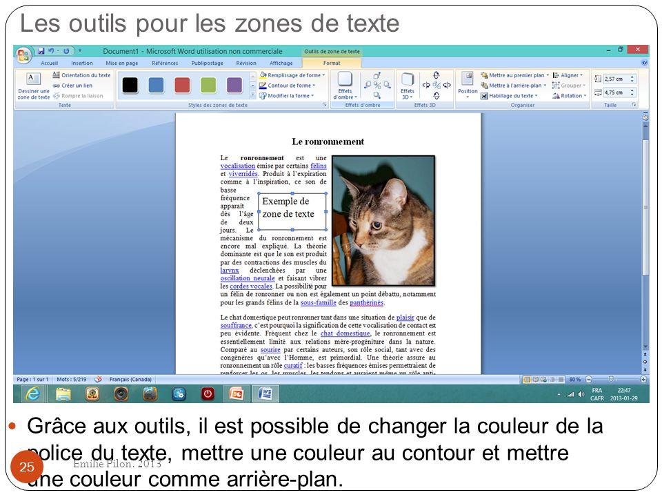 Les outils pour les zones de texte