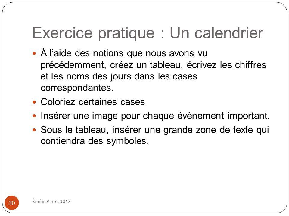 Exercice pratique : Un calendrier