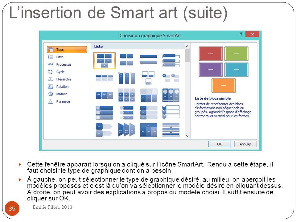 L'insertion de Smart art (suite)