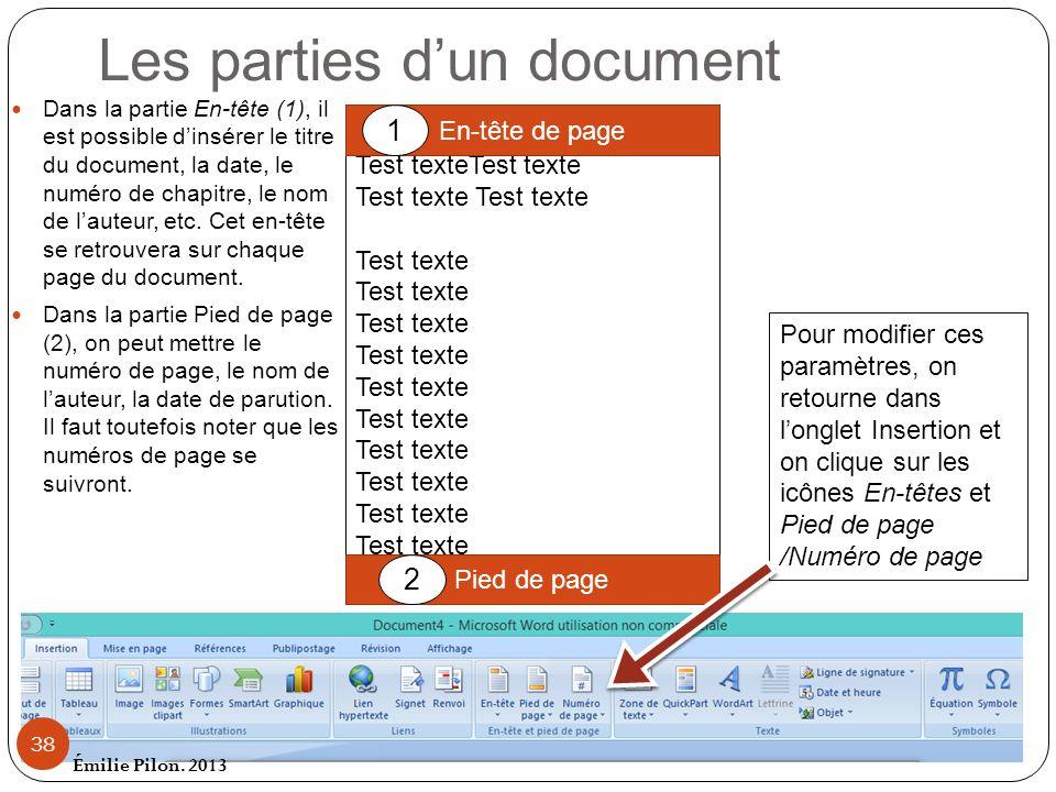 Les parties d'un document